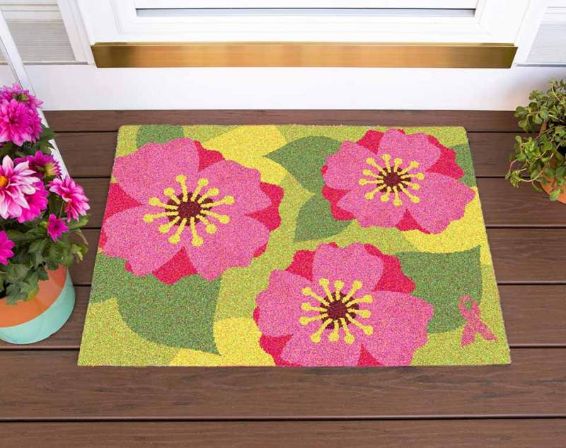 Special Pink Ribbon Welcome Mats For Your Home