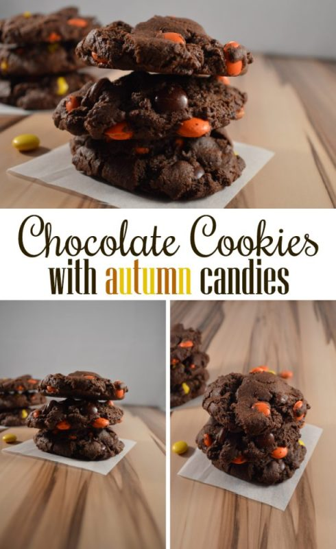 Chocolate Cookies with Autumn Candies