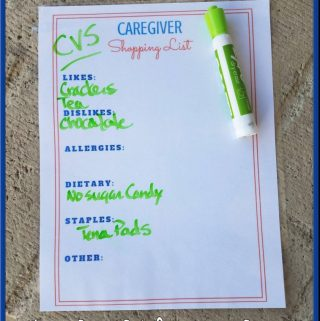 Stop Unwanted Items With Caregiver Shopping List (Printable)