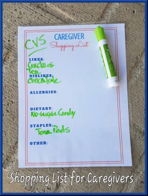 Caregiver Shopping List