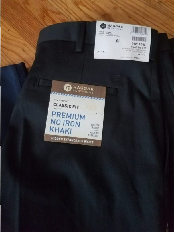 For the traveling dad: Premium No Iron Khaki pants These pants are a class-act right out of the dryer—no iron needed, and include a hidden- expandable waistband that gives up to 3 inches of comfort.