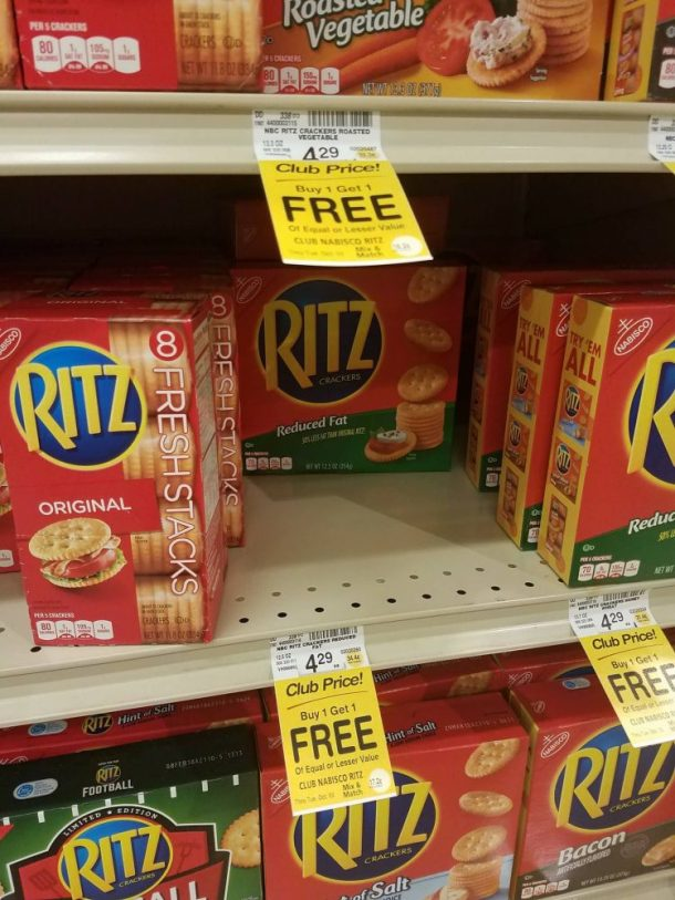 Crackers like Ritz are my favorite thing to buy during the stock up sale...and I'm not the only one!