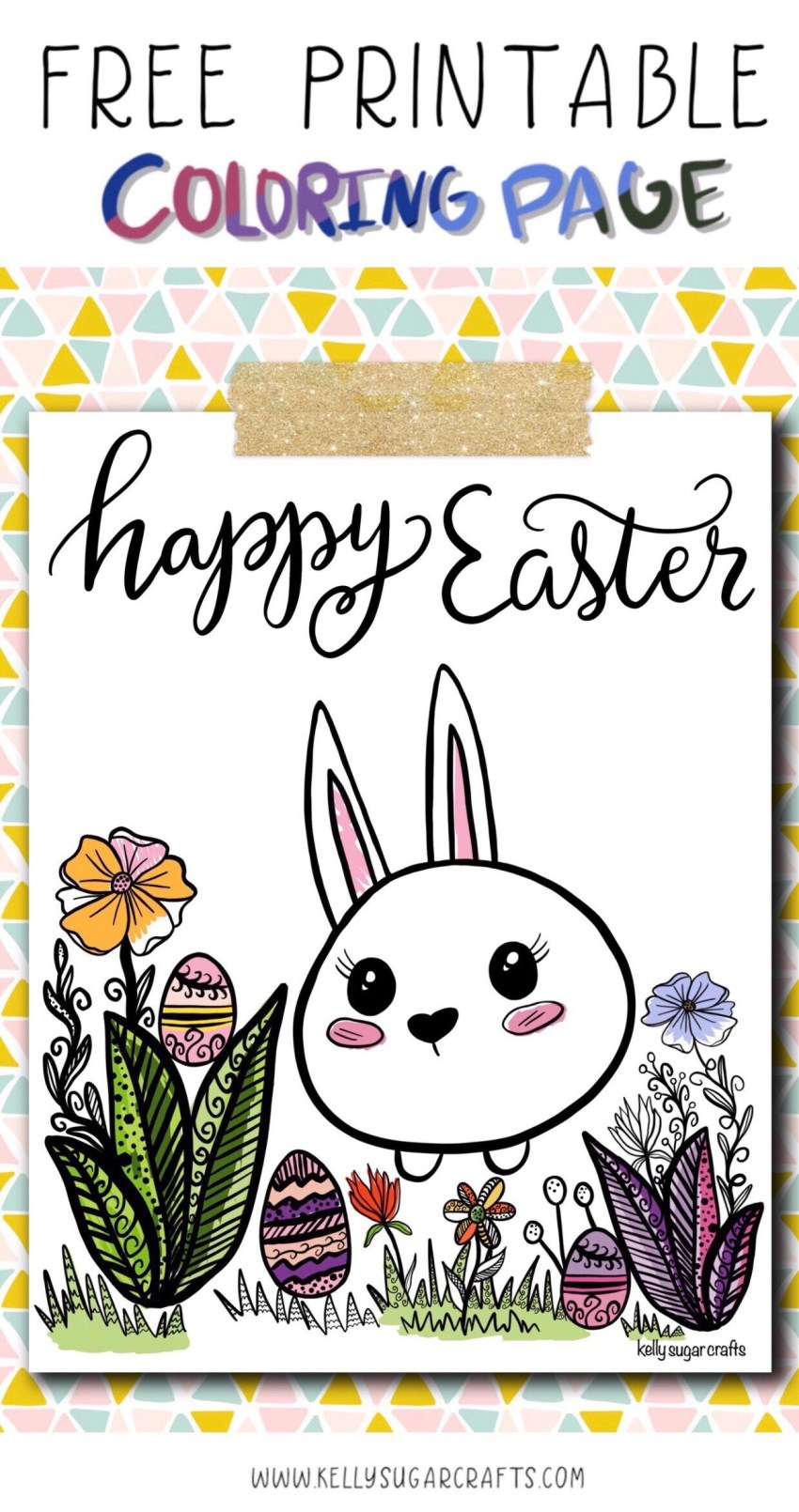 Free Printable Easter Coloring Page for kids and adults by Kelly Sugar Crafts
