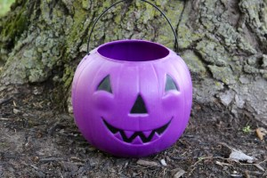 A purple pumpkin bucket