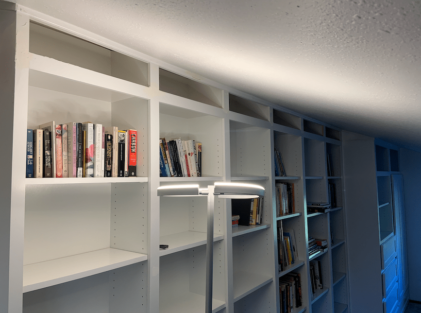 Bookshelves with top compartment