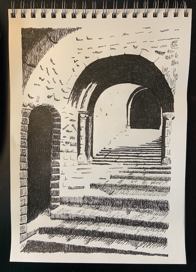 Drawing of castle stairs