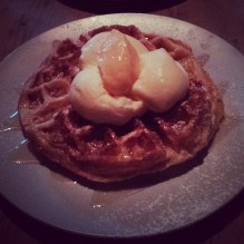 Waffle with lemon curd and limoncello gelato