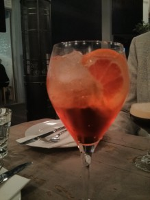 Aperol and peach spritz