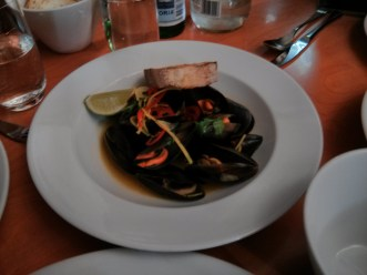 Steamed mussels with saffron, chilli, coriander and ginger.