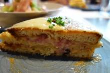 Club croque - stacked croque monsieur w spicy bechamel, ham & swiss cheese