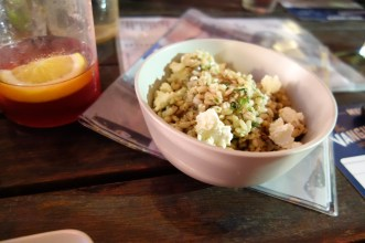 Pearl barley salad w mushrooms, carrots, feta, honey & sherry vinaigrette