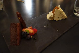 Chocolate marquise and rosemary parfait