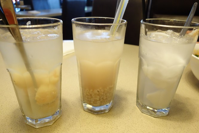 Drinks - exotic lychee, iced barley water, icy coconut