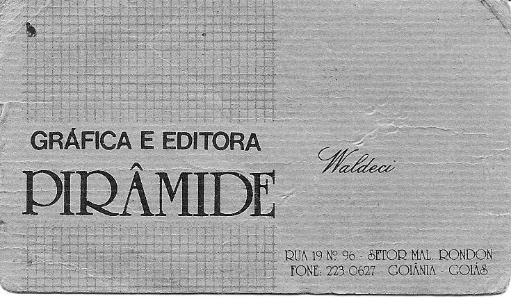 Cartão de apresentação de Waldecy Almeida da Gráfica e Editora Pirâmide