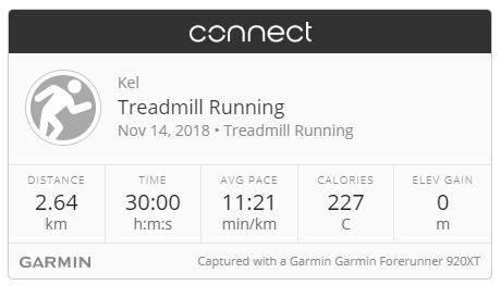 Garmin treadmill run 14-11-18