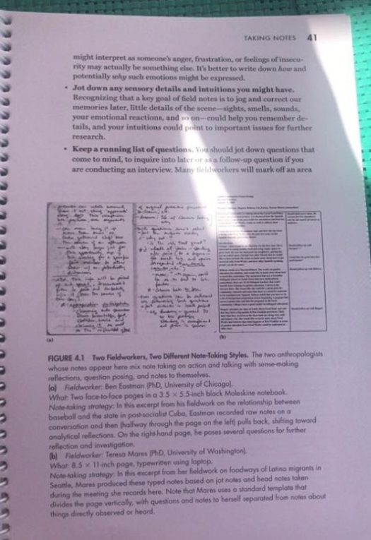 photograph of page 41 from Vivanco 2016, which includes images of two field note writing styles