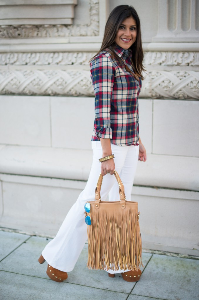 plaid button down shirt for the petite woman