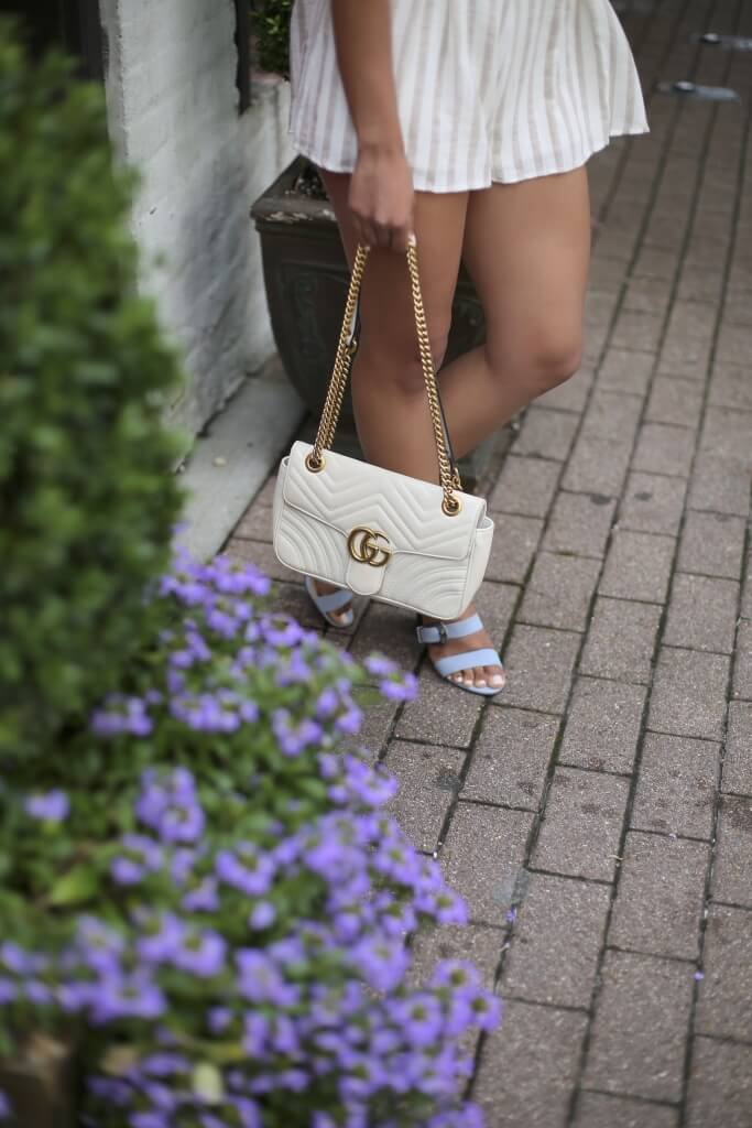Lifestyle blogger Kelsey Kaplan of Kelsey Kaplan Fashion wearing two-piece set and gucci purse