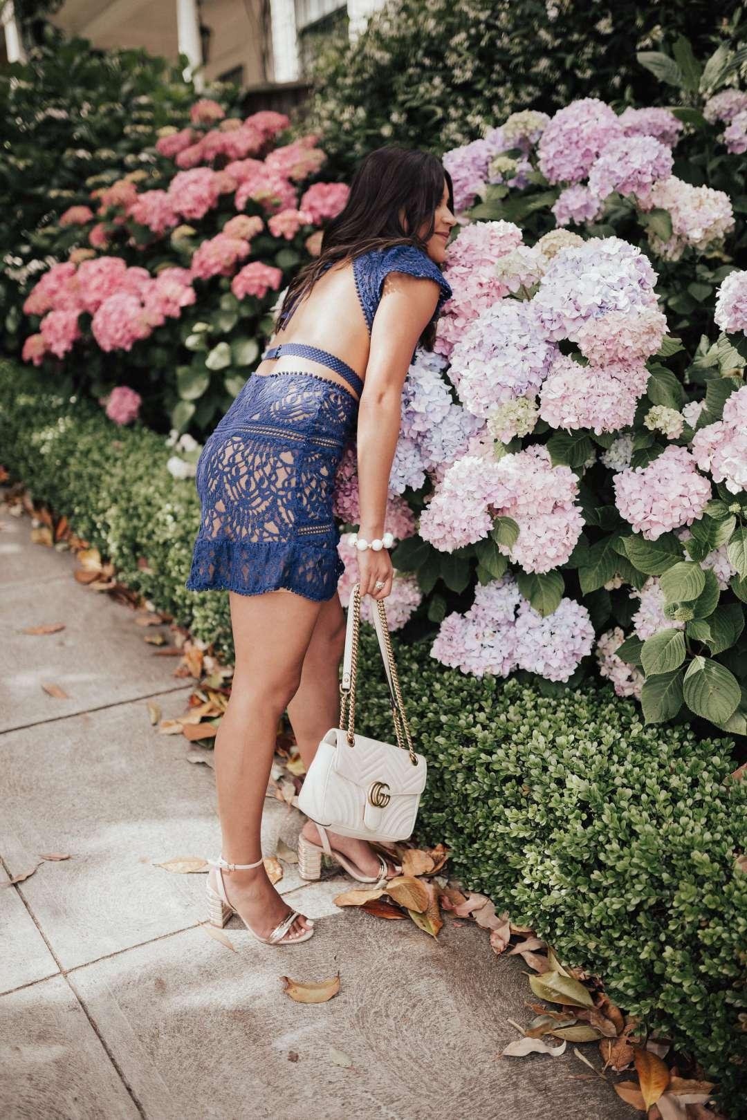 Lifestyle Blogger Kelsey Kaplan of Kelsey Kaplan Fashion wearing little navy dress and gucci purse