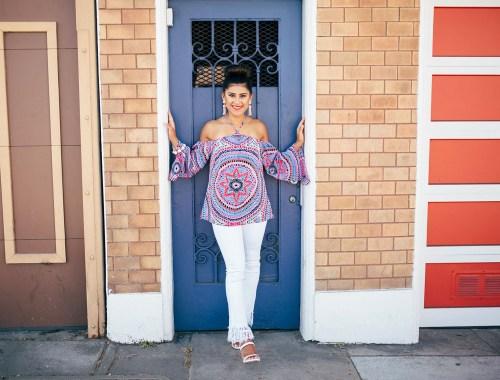 Kelsey Kaplan of Kelsey Kaplan Fashion in white fringe hem jeans and Alice and Trixie