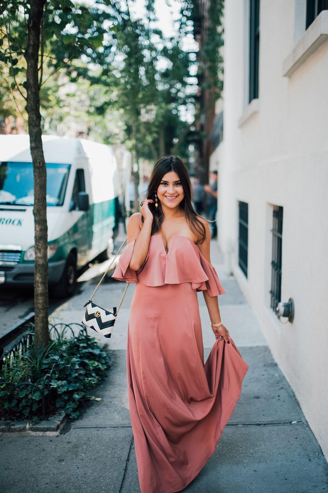 Lifestyle blogger Kelsey Kaplan of Kelsey Kaplan Fashion wearing OTS maxi dress at NYFW