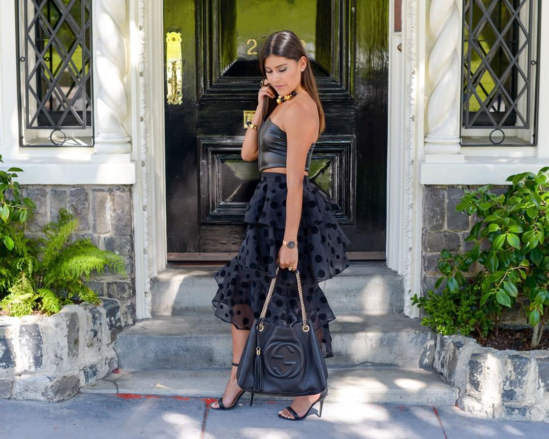 Lifestyle blogger Kelsey Kaplan of Kelsey Kaplan Fashion wearing black tutu skirt and gucci purse
