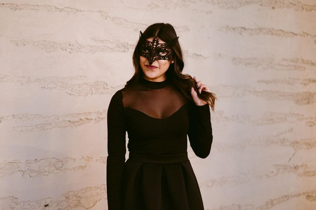 Lifestyle blogger Kelsey Kaplan of Kelsey Kaplan Fashion wearing fox mask to costume party
