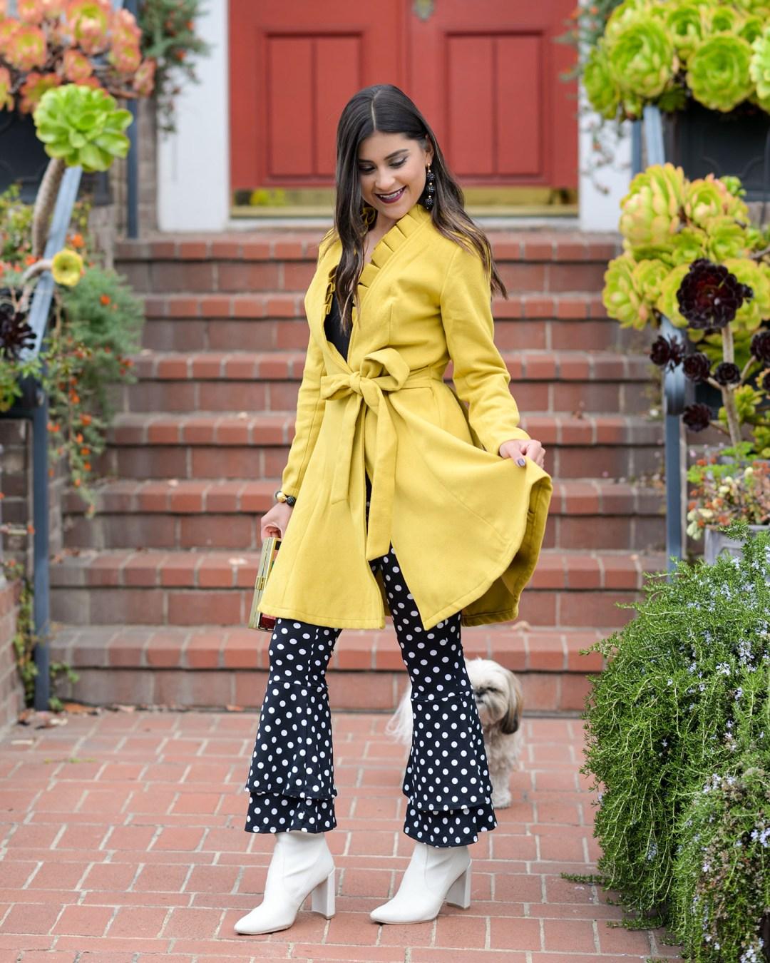 Lifestyle Blogger Kelsey Kaplan of Kelsey Kaplan Fashion wearing chartreuse coat dress and white Stuart Weitzman boots