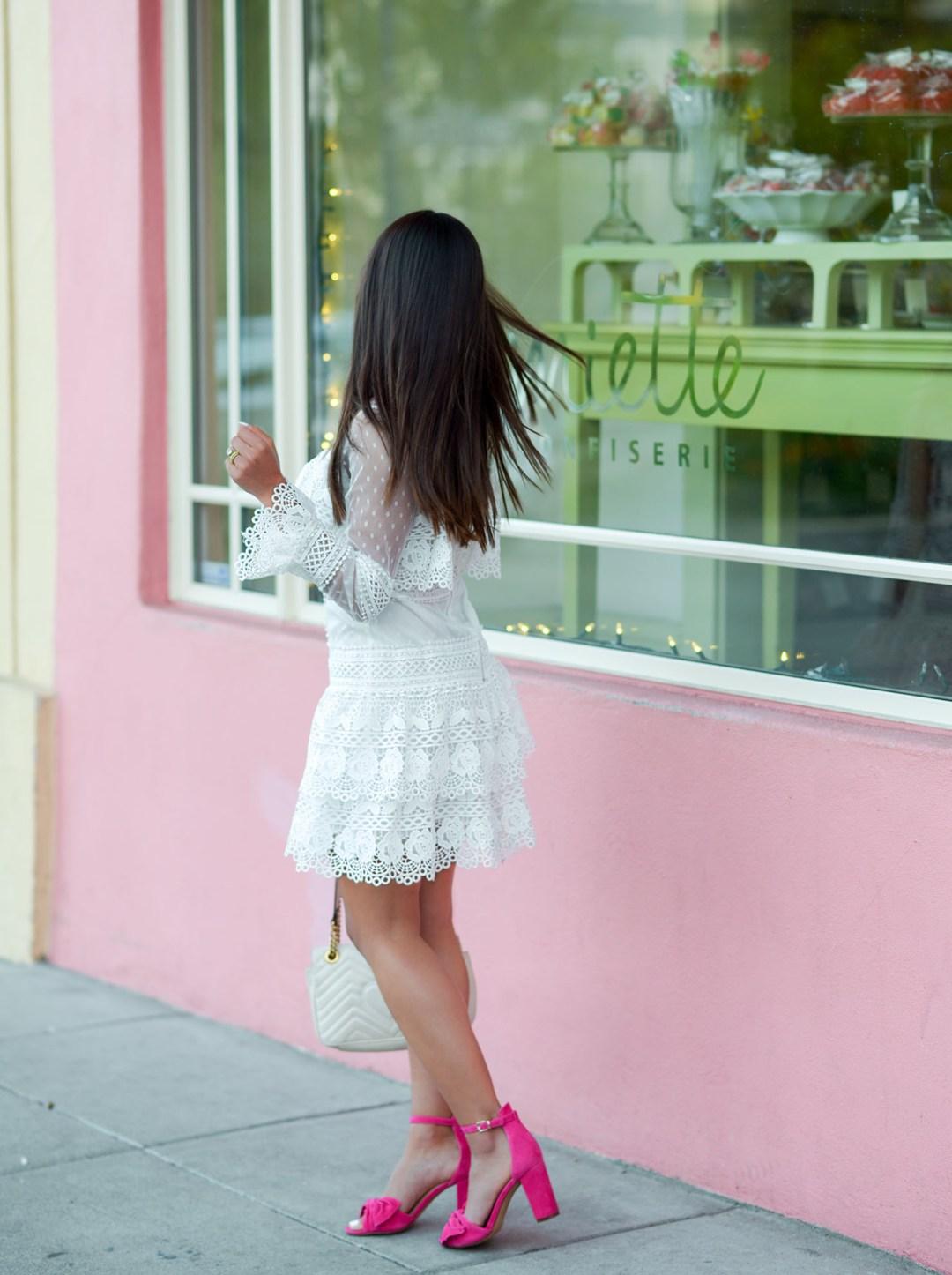 Kelsey Kaplan of Kelsey Kaplan Fashion wearing white crochet dress and pink sandals