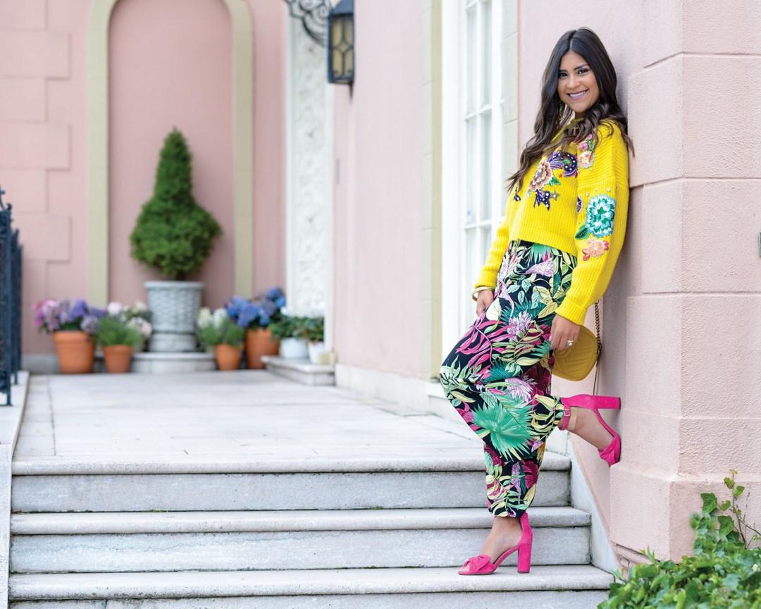 Lifestyle Blogger Kelsey Kaplan of Kelsey Kaplan Fashion wearing palm print pants and yellow gucci purse