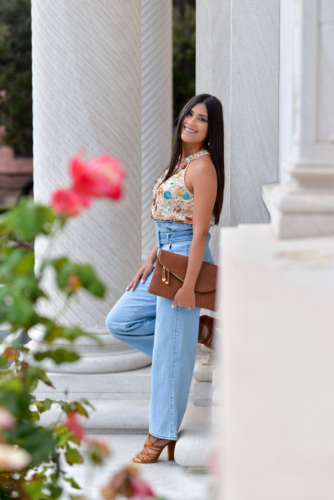 Lifestyle blogger Kelsey Kaplan of Kelsey Kaplan Fashion wearing paperbag jeans and River Island sequin top