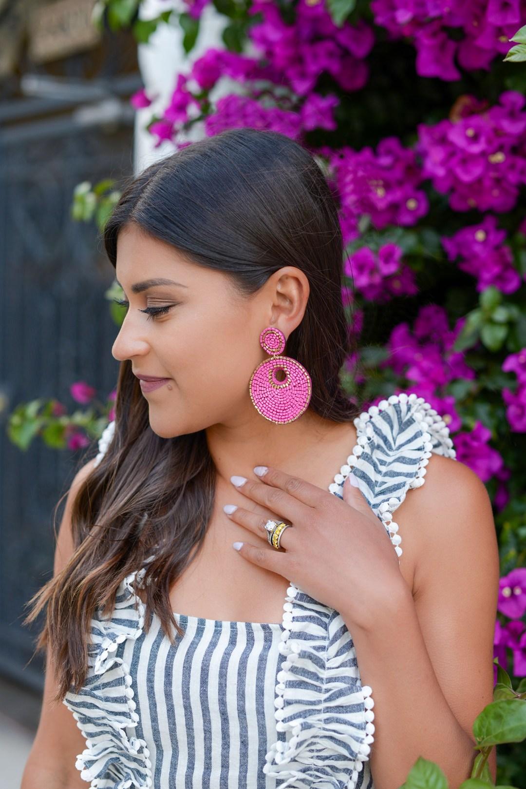 Lifestyle blogger Kelsey Kaplan of Kelsey Kaplan Fashion wearing VICI pink beaded earrings