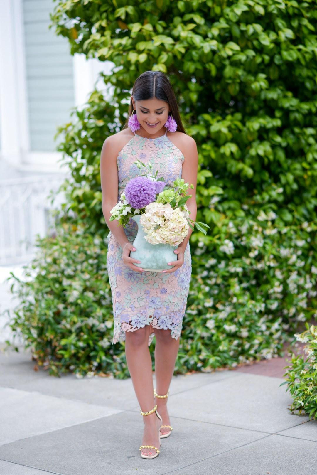 Lifestyle blogger Kelsey Kaplan of Kelsey Kaplan Fashion wearing Adelyn Rae Lace Floral wedding guest dress and Stuart Weitzman sandals