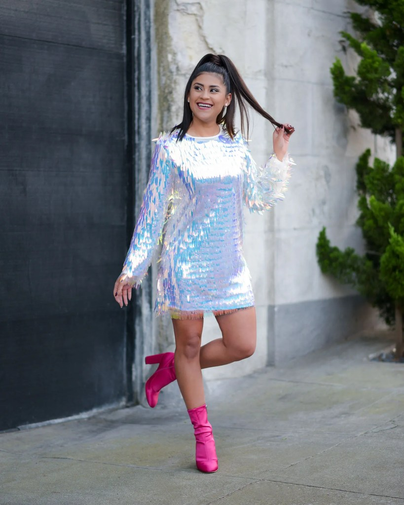 Lifestyle blogger Kelsey Kaplan of Kelsey Kaplan Fashion wearing fringe sequin dress and pink booties