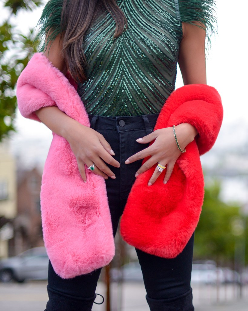 Lifestyle blogger Kelsey Kaplan of Kelsey Kaplan Fashion wearing emerald jewelry and pink faux fur scarf