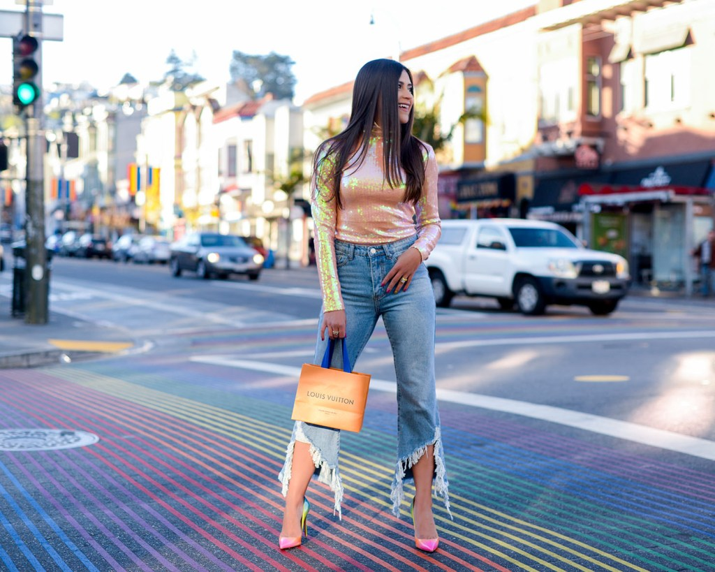 Lifestyle blogger Kelsey Kaplan of Kelsey Kaplan Fashion wearing rainbow Louboutin shoes