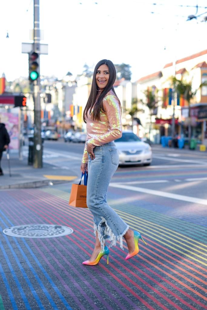 Lifestyle blogger Kelsey Kaplan of Kelsey Kaplan Fashion wearing rainbow Louboutin shoes