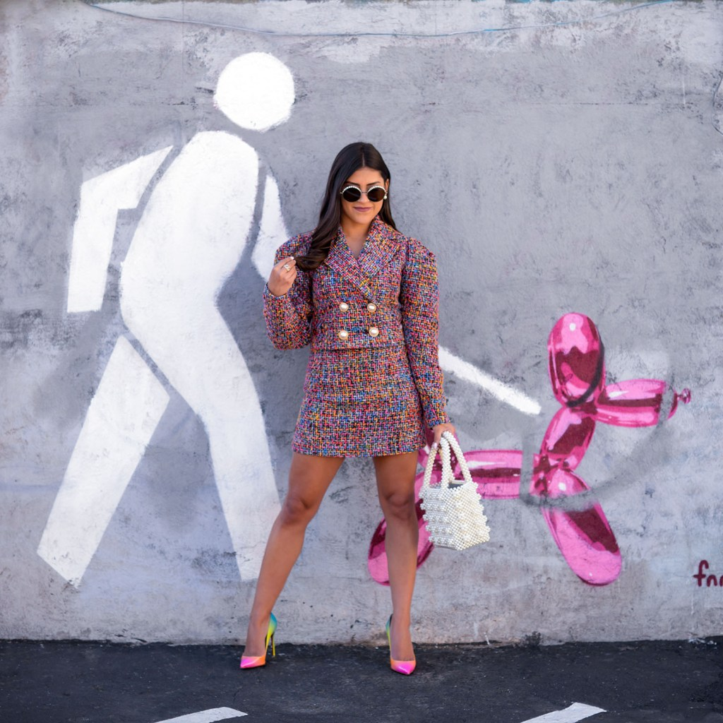 Lifestyle blogger Kelsey Kaplan of Kelsey Kaplan Fashion wearing rainbow tweed suit and rainbow pumps