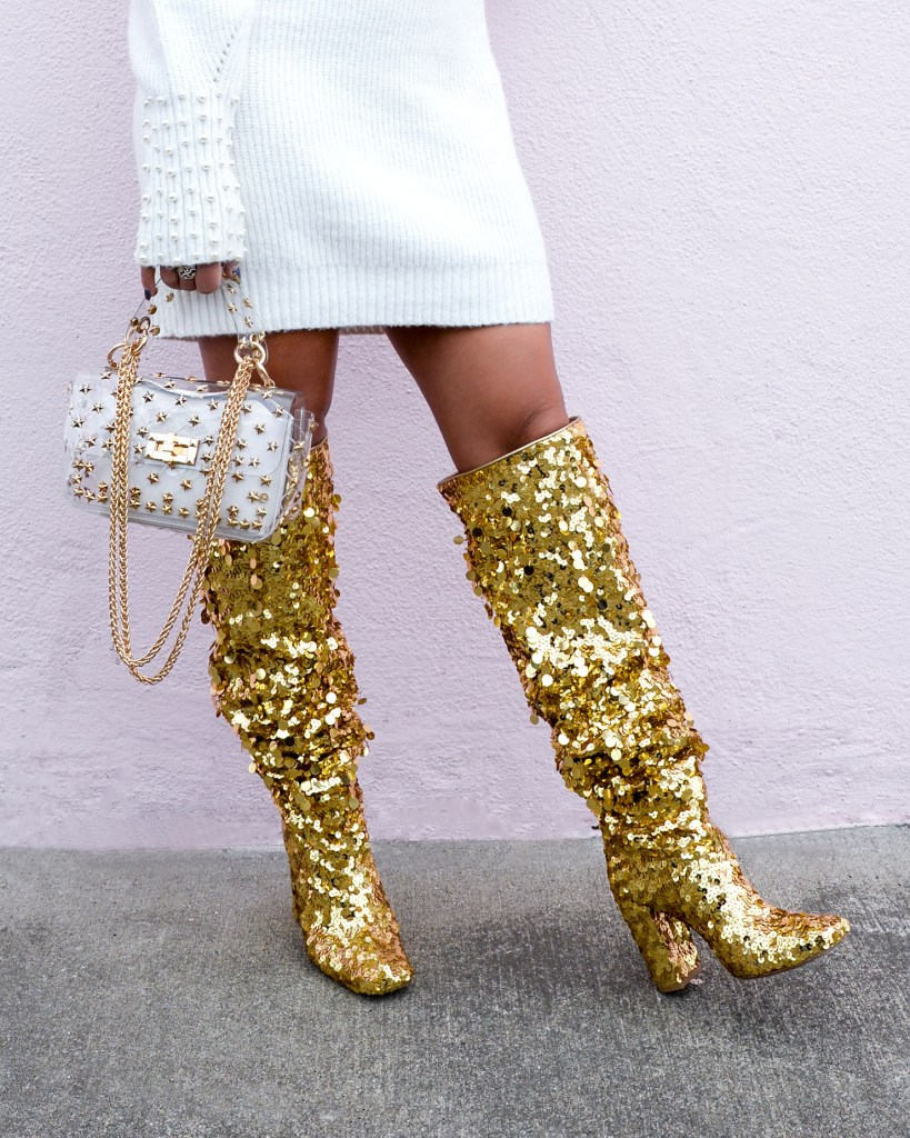 Lifestyle blogger Kelsey Kaplan of Kelsey Kaplan Fashion wearing gold sequin Stuart Weitzman boots.