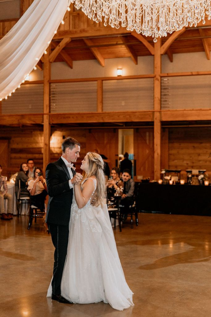 bride and groom dancing during reception in knoxville tennessee