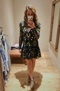 free people, mini dress, floral dress, ruffle hem, spring fashion, lbd, little black dress