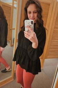 pink pants, pink jeans, peplum top, black peplum, spring outfit