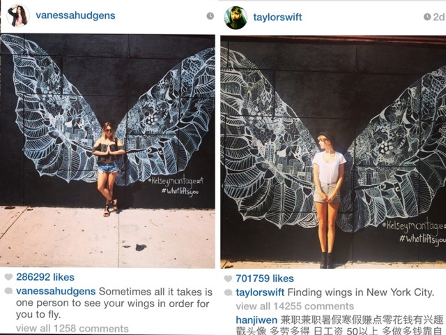Taylor Swift and Vanessa Hudgens in front of Kelsey Montague angel wings