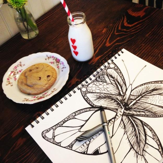 Milk Jar Cookies butterfly by Kelsey Montague Art