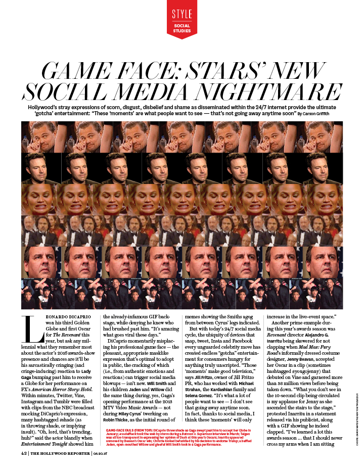 Game Face: Stars' New Social Media Nightmare / The Hollywood Reporter / 5.20.16 / kelsey stefanson / art direction + graphic design / yeskelsey.com