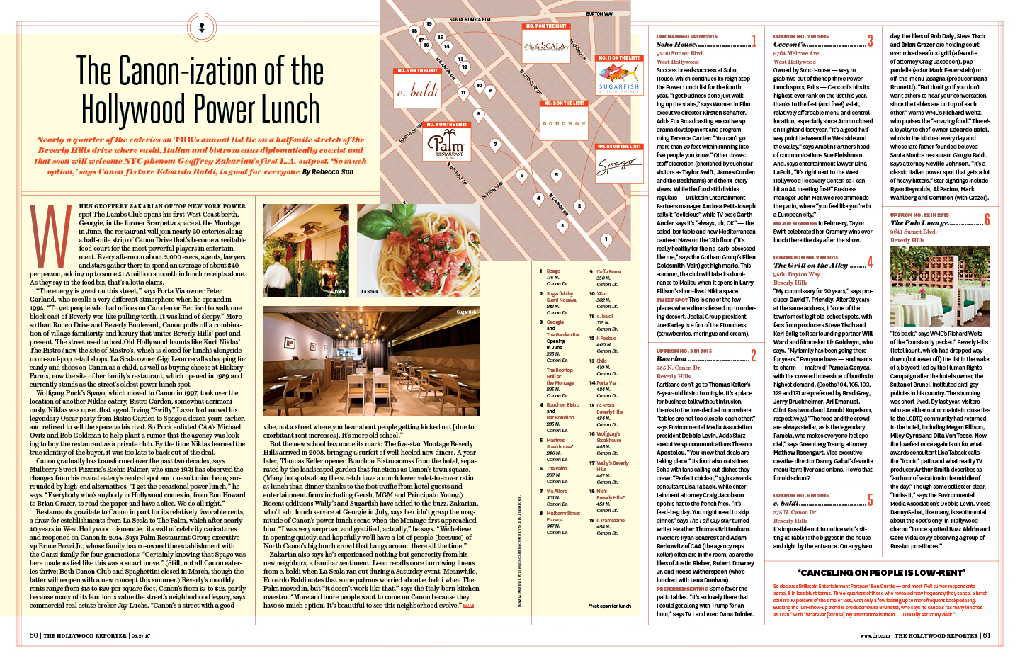 Hollywood's Top 25 Power Lunch Spots / The Hollywood Reporter / 5.27.16 / kelsey stefanson / art direction + graphic design / yeskelsey.com