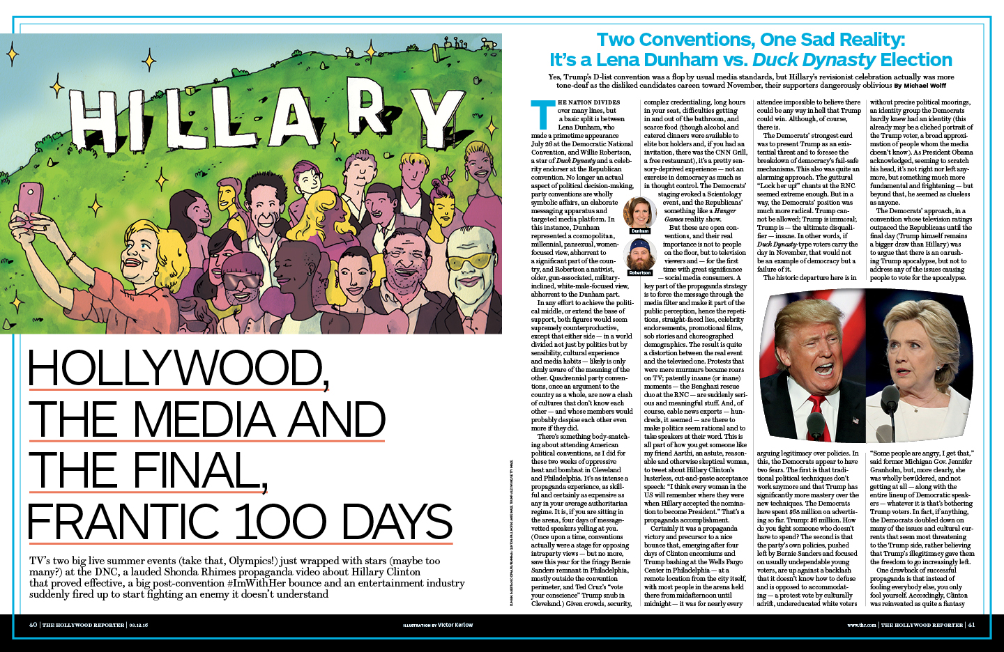 Hollywood, The Media and the Final, Frantic 100 Days / The Hollywood Reporter / 8.12.16 / kelsey stefanson / art direction + graphic design / yeskelsey.com
