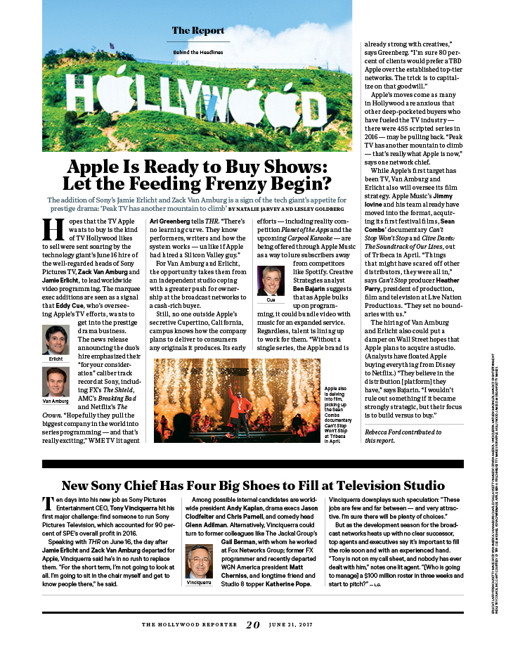 Apple Is Ready to Buy Shows / The Hollywood Reporter / 6.21.17 / kelsey stefanson / art direction + graphic design / yeskelsey.com