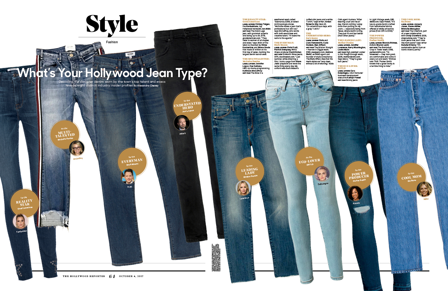 What's Your Hollywood Jean Type? / The Hollywood Reporter / 10.4.17 / kelsey stefanson / art direction + graphic design / yeskelsey.com