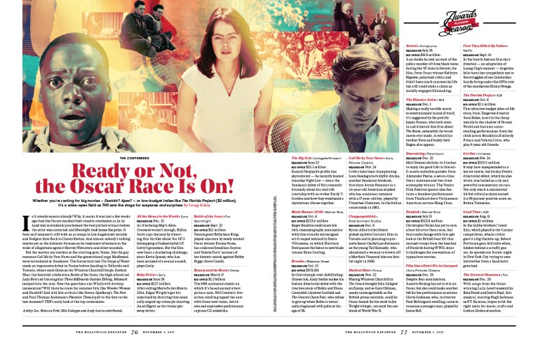 Ready Or Not, The Oscar Race is On! / The Hollywood Reporter / 11.1.17 / kelsey stefanson / art direction + graphic design / yeskelsey.com